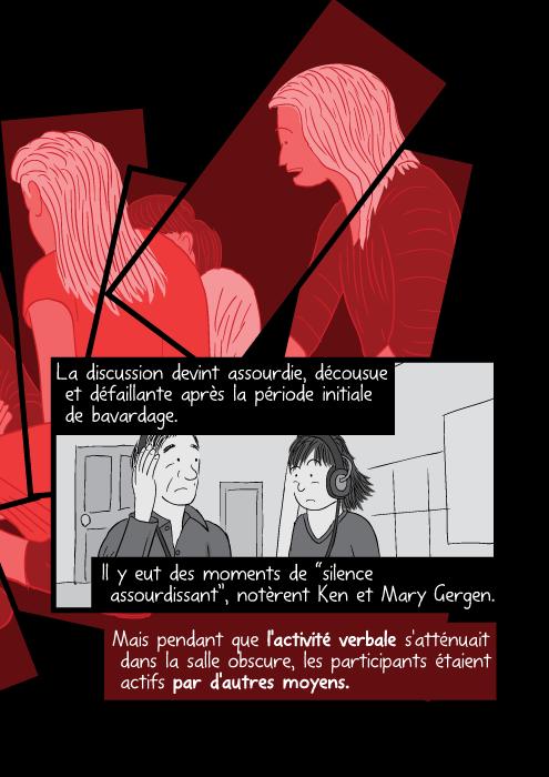 """La discussion devint assourdie, décousue et défaillante après la période initiale de bavardage. Il y eut des moments de """"silence assourdissant"""", notèrent Ken et Mary Gergen. Mais pendant que l'activité verbale s'atténuait dans la salle obscure, les participants étaient actifs par d'autres moyens."""