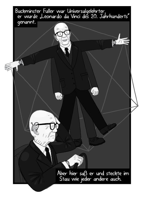 """Buckminster Fuller war Universalgelehrter, er wurde """"Leonardo da Vinci des 20. Jahrhunderts"""" genannt. Aber hier saß er und steckte im Stau wie jeder andere auch."""