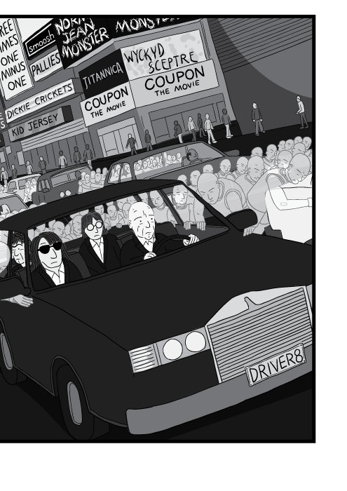 Cartoon of R.E.M. band members driving in car like Everybody Hurts video clip.