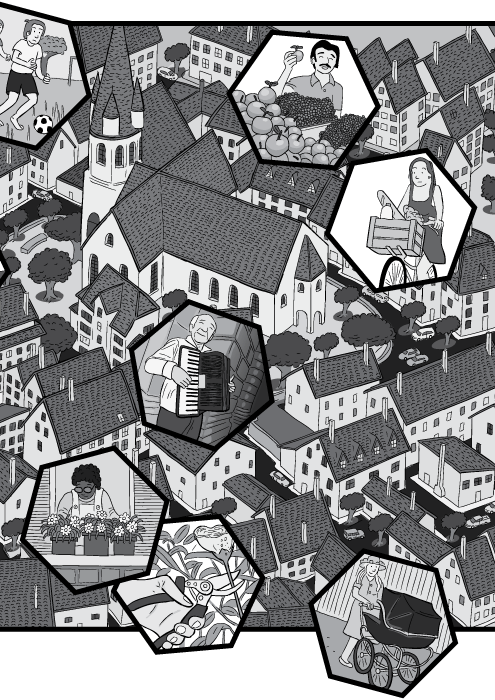 Aerial view of European city with church built into town centre. Black and white drawings of rooftops and buildings.