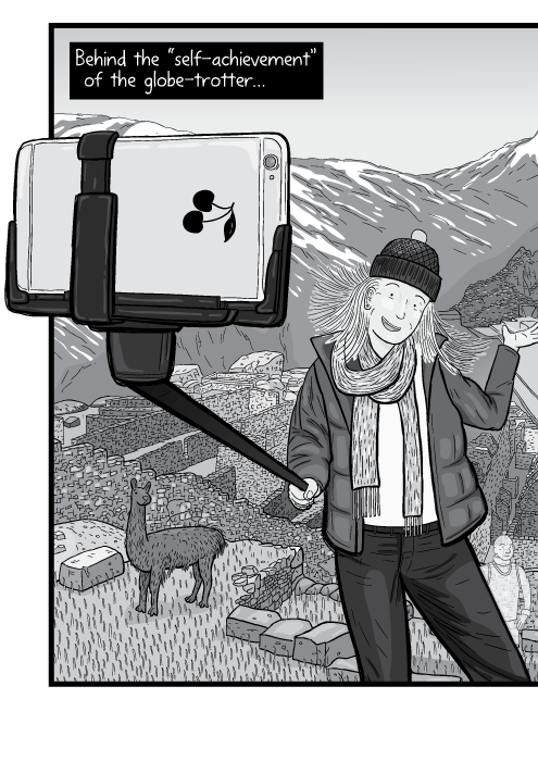 "Cartoon iPhone in a selfie stick drawing. Tourist taking her selfie photo. Behind the ""self-achievement"" of the globe-trotter..."