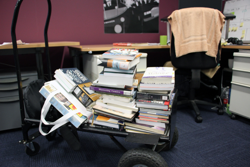 Trolley of graphic novel books for book review video.