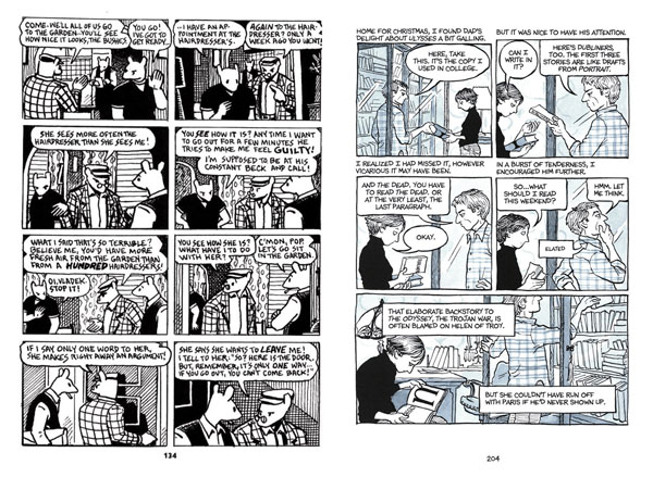 Example pages from the comics 'Maus' (1991) by Art Spiegelman, and 'Fun Home' (2006) by Alison Bechdel. Two groundbreaking comics which extensively use a highly organised, conventional panel arrangement.