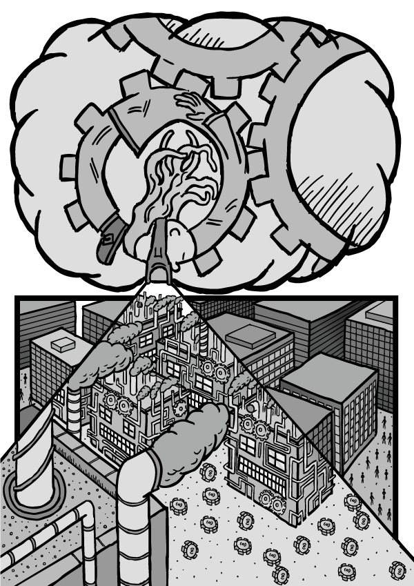 Girl wearing 'machine' goggles imagines herself as a cog in a machine, and looks down on a city of buildings. Using her metaphor, the organisations are 'machines', and the people are mere 'parts' of the machines.