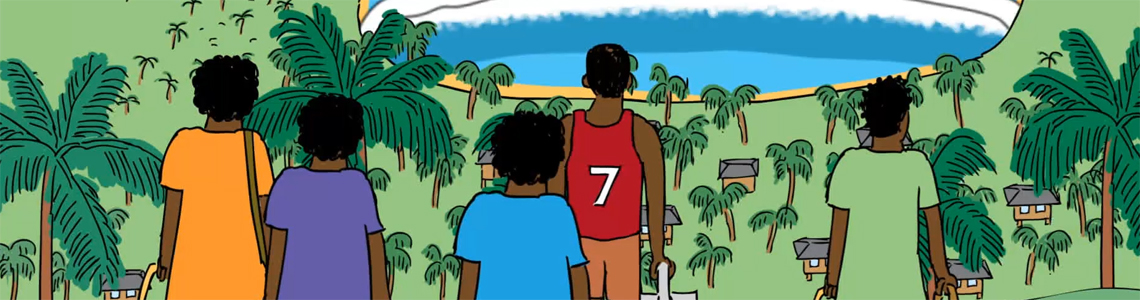 Still image from an educational animation produced for school children, educating them about natural hazards.