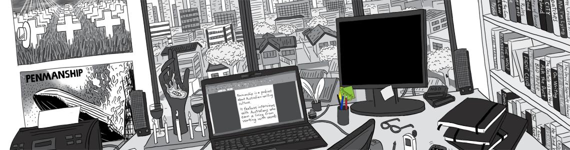 Cartoon commissions: Penmanship podcast commissioned illustration - website image.