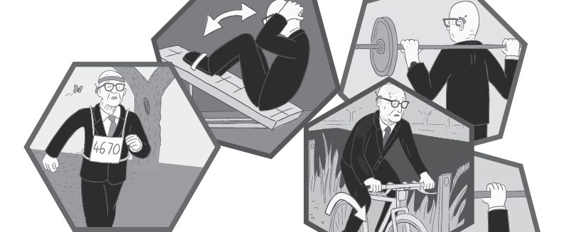 Cartoon man in suit exercising by lifting weights, jogging, and riding a bike.