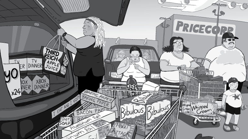 Obese family pushing shopping cart in big box supermarket car park.