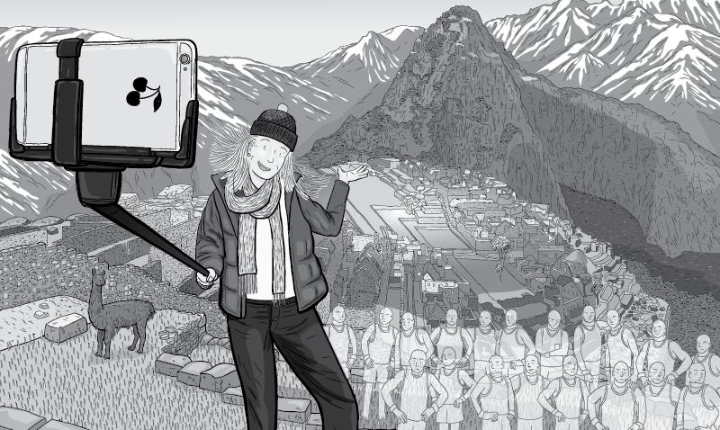 Cartoon tourist using selfie stick to take a selfie at Machu Picchu.