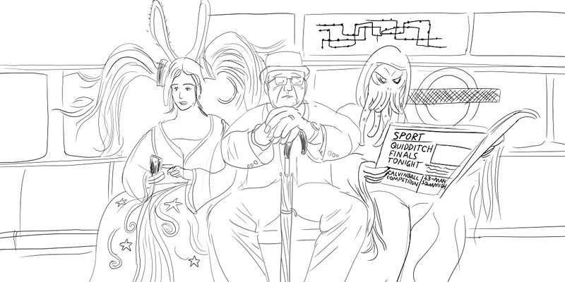 Draft London Tube scene, featuring Sona (League of Legends) and Cthulhu.