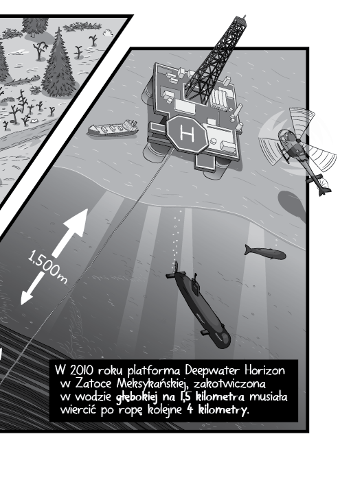 W 2010 roku platforma Deepwater Horizon w Zatoce Meksykańskiej, zakotwiczona w wodzie głębokiej na 1,5 kilometra musiała wiercić po ropę kolejne 4 kilometry.