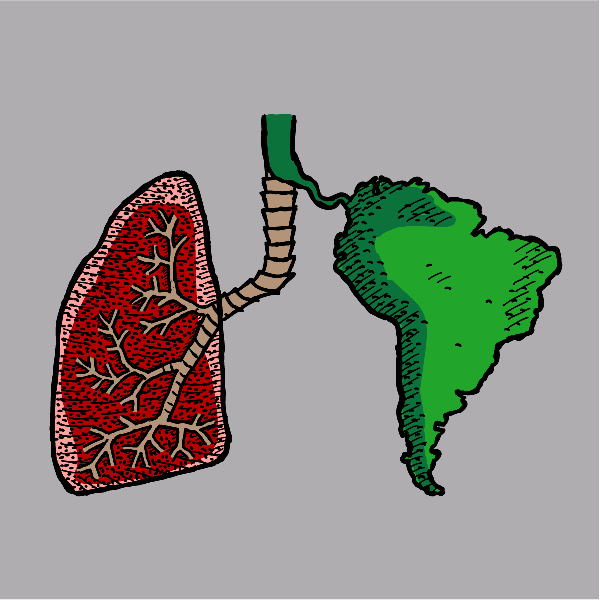 T-shirt graphic: Lungs of the Earth. Cartoon Lung with South America.