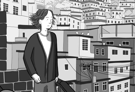Cartoon illustration of Stuart McMillen looking towards horizon across cityscape