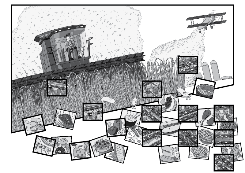 Farmer harvesting wheat in combine harvester, as crop duster flies overhead. Cartoon low angle scene in black and white.