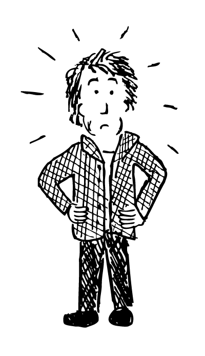 Cartoon puzzled man. Black and white drawing hands on hips.