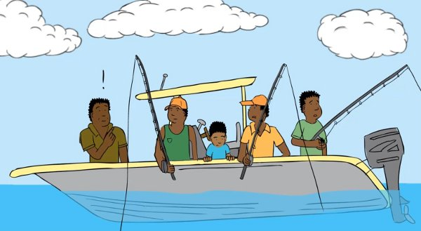 Cartoon men in a fishing boat. Drawing from Papua New Guinea natural hazards animation by Geoscience Australia.