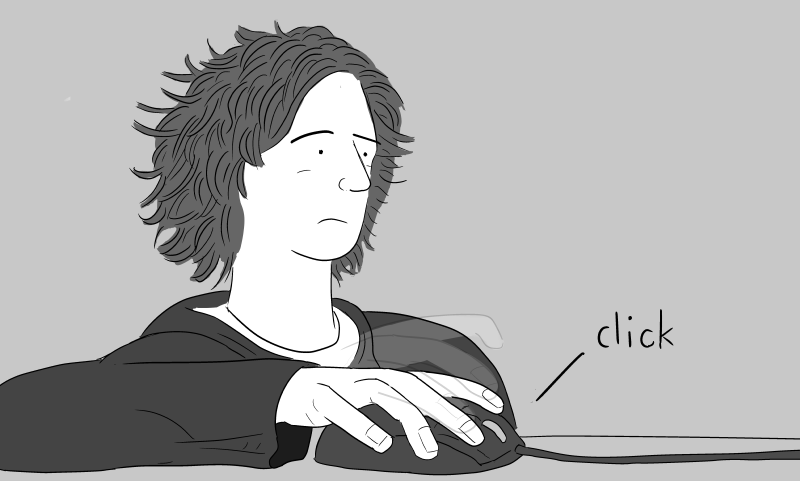 Bored young man clicking a mouse, viewed from the desk level. Cartoon of person using a mouse, near his right hand.