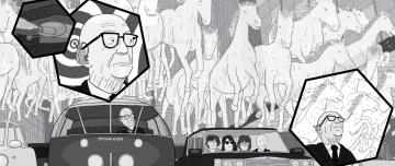 Buckminster Fuller looking at 'horsepower' horses cartoon