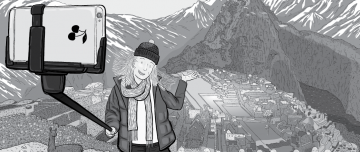 Drawing of young tourist taking selfie with selfie stick.