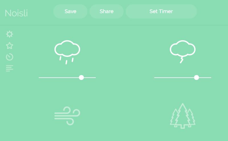 Noisli ambient soundscape generator - rainfall, thunder, wind, forest sounds.