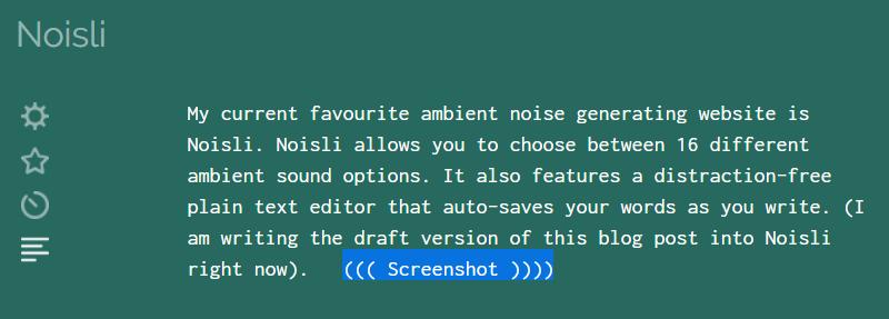 Noisli plain text editor with colourful background.