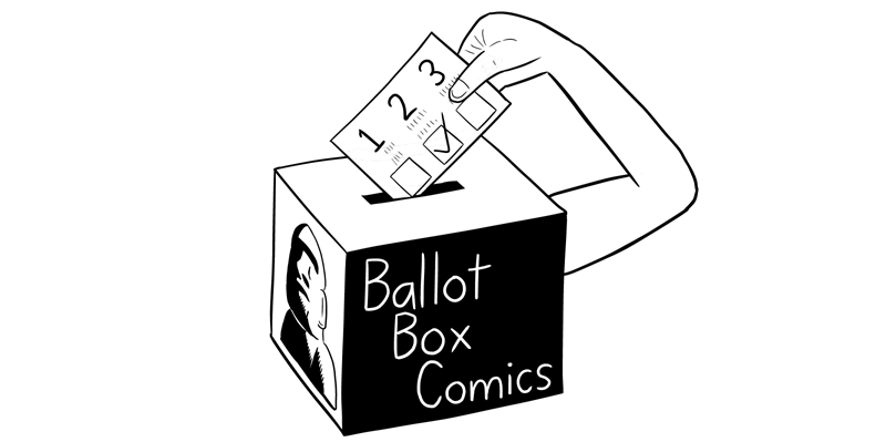 Ballot Box Comics logo - with one arm. Cartoon of ballot box placing a vote into its slot.