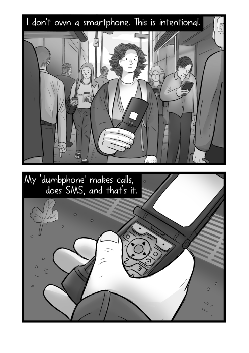 I don't own a smartphone. This is intentional. My 'dumbphone' makes calls, does SMS, and that's it. Cartoon hand holding Motorola Razr phone.