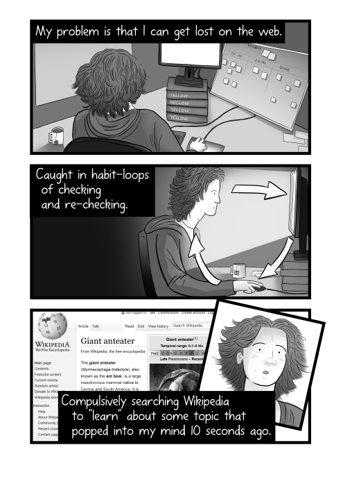 Internet addiction cartoon - man at desk. My problem is that I can get lost on the web. Caught in habit-loops of checking and re-checking. Compulsively searching Wikipedia to