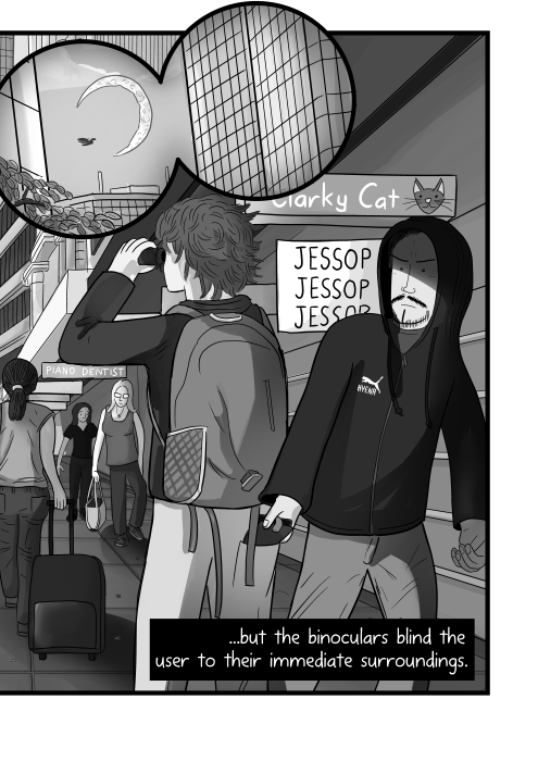 Man being pickpocketed by another man with hoodie cartoon. ...but the binoculars blind the user to their immediate surroundings.