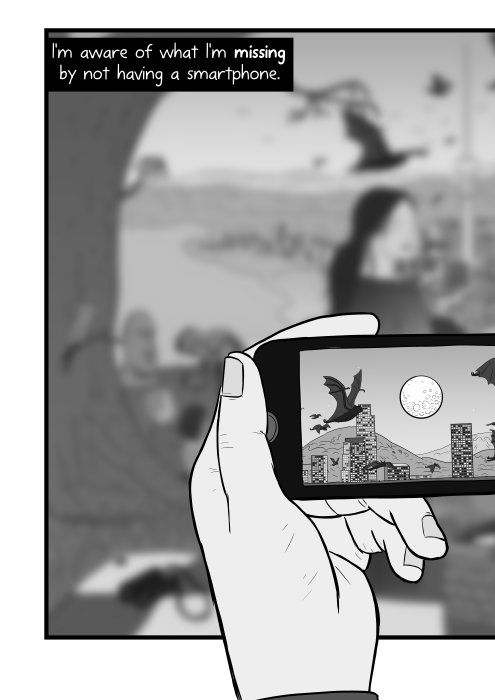 Cartoon illustration of hand holding a phone, showing the screen. I'm aware of what I'm missing by not having a smartphone.
