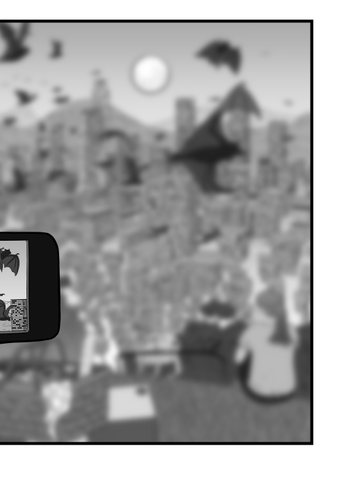 Blurry black and white cartoon of landscape looking over city from hill lookout.