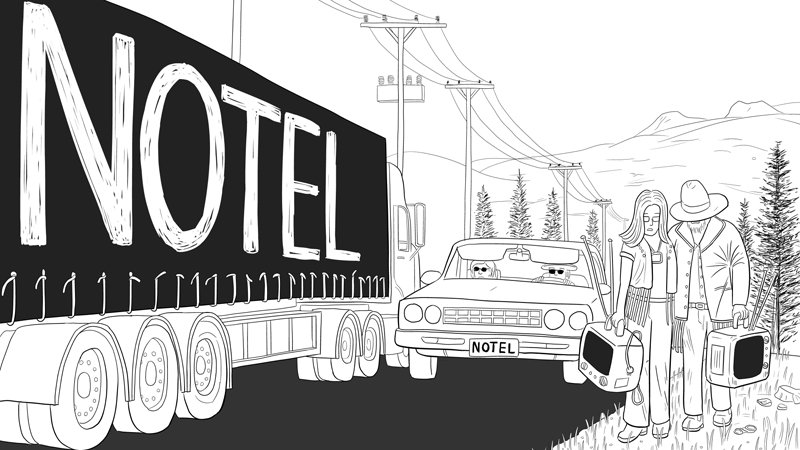 Notel comic page 1, draft version with truck passing car on road