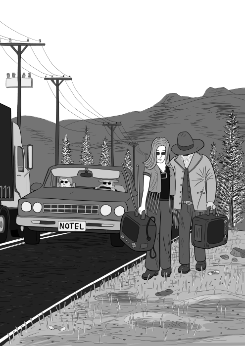 Chemical Brothers Exit Planet Dust album cover tribute: young couple walking along the side of a road, with a car passing by. Cartoon parody of Chemical Brothers artwork.