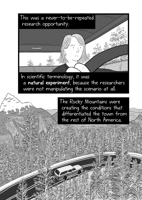 High angle view of car driving through a mountain road, surrounded by forest trees. This was a never-to-be-repeated research opportunity. In scientific terminology, it was a natural experiment, because the researchers were not manipulating the scenario at all. The Rocky Mountains were creating the conditions that differentiated the town from the rest of North America.