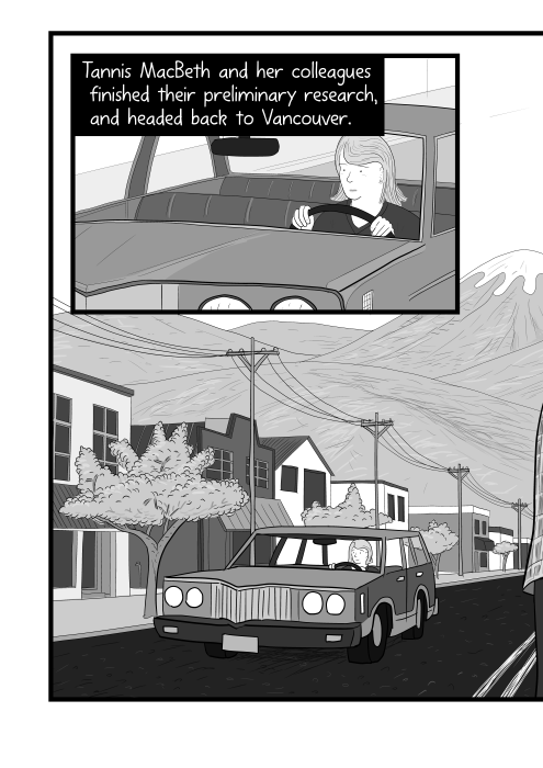 Station wagon car driving through Canadian main street. Tannis MacBeth and her colleagues finished their preliminary research, and headed back to Vancouver.