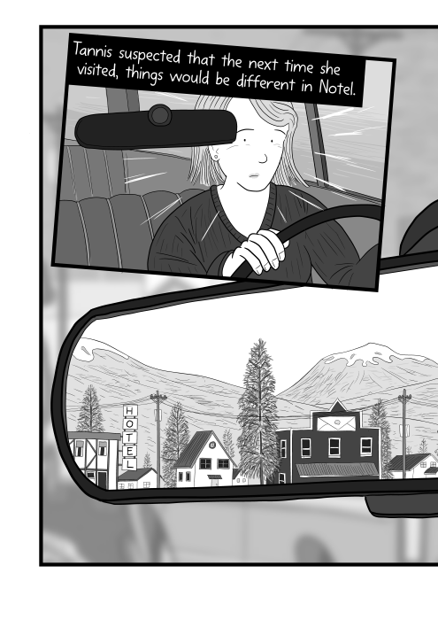 Surprised woman driving a car, looking in the rear vision mirror. Tannis suspected that the next time she visited, things would be different in Notel.