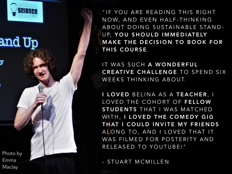 Stuart McMillen testimonial for Sustainable Stand Up course by Belina Raffy