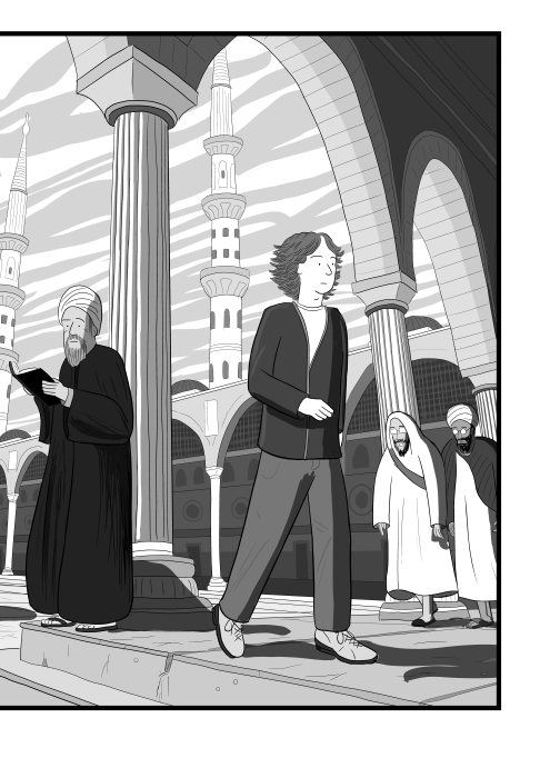 Cartoon Stuart McMillen walking through a Muslim temple, with men in traditional dress and minarets in background.