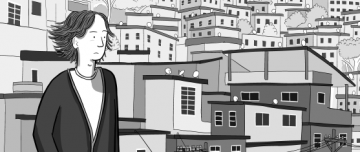 Grayscale cartoon young man looking pensively towards horizon.