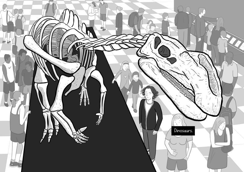 Dinosaur skeleton image in Stuart McMillen cartoon about science and religion: Version 1.