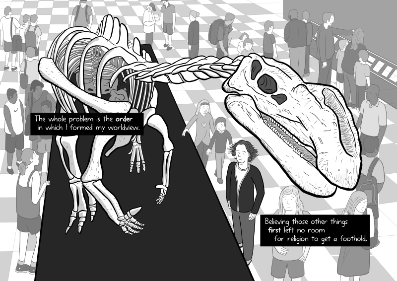 Cartoon dinosaur skeleton in museum science center in comic about science by Stuart McMillen