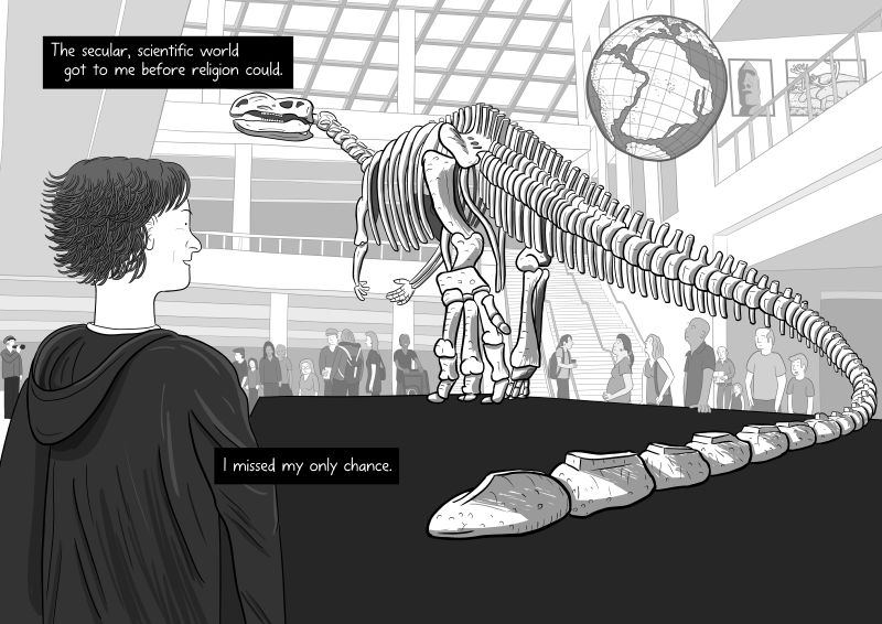 Cartoon rear view looking at dinosaur skeleton in science museum illustration: I missed my only chance to believe in religion.