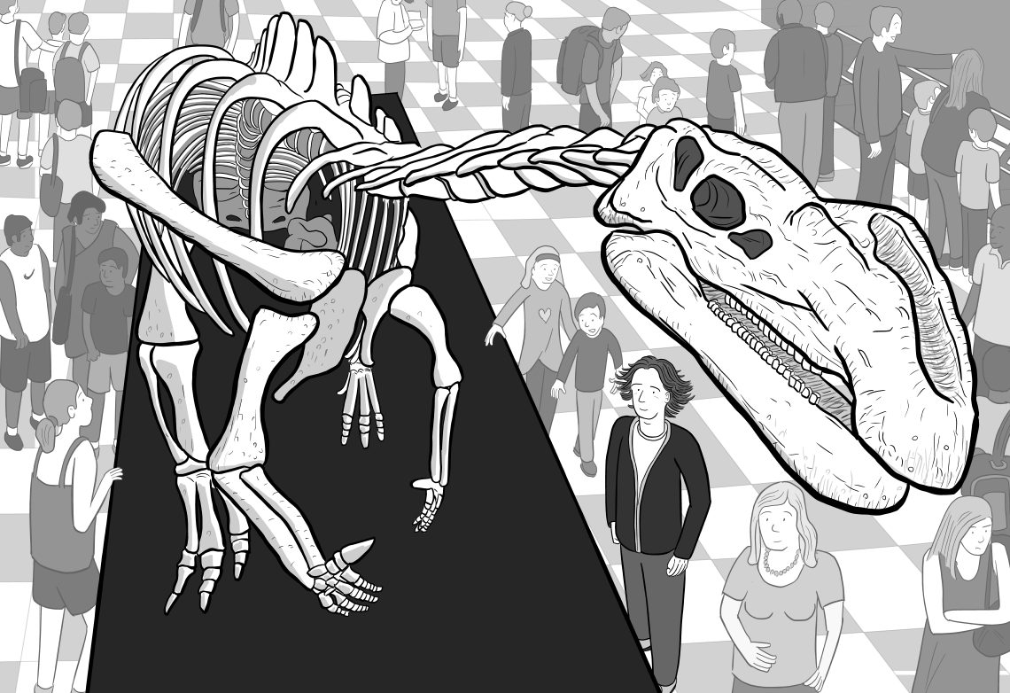 High angle drawing of cartoon dinosaur skeleton, with museum patrons standing beneath looking up.
