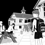 Black and white cartoon of young high school boy with Billabong backpack standing on schoolgrounds, in front of high-set Queenslander style school building.
