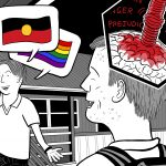 Close view of rear of high school student's head, showing bigoted attitudes entering the boy's brain, as he laughs at racist jokes.