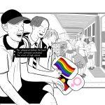 Drawing of high school boys laughing at homophobic jokes: