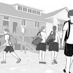 Stark black and white illustration of Australian school students in uniform on schoolyard, wearing backpacks and uniforms in front of Queenslander school building.