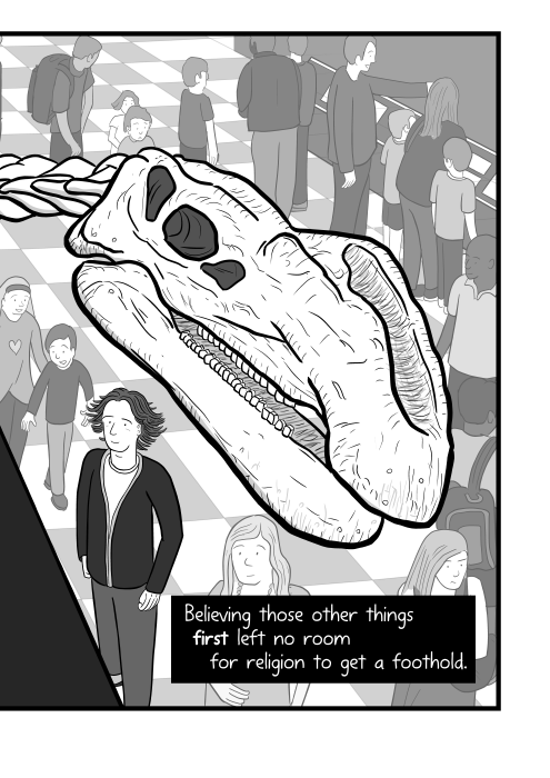 Believing those other things first left no room for religion to get a foothold. Close-up high angle dinosaur skull cartoon - Muttaburrasaurs in museum drawing.