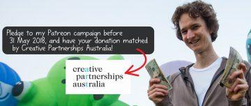 Screenshot of Stuart McMillen promoting 2018 crowdfunding campaign - Match Lab 2018 by Creative Partnerships Australia