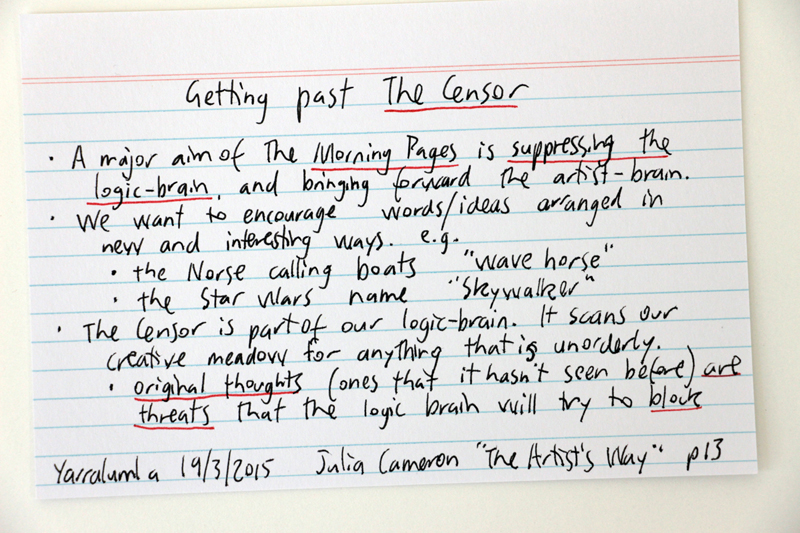 Getting past The Censor - Julia Cameron quote from The Artist's Way